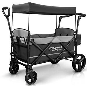 Wonderfold-Wagon-X2-Push-Pull-2-Passenger-Folding-Stroller-Gray-NEW