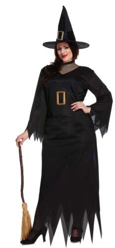 Noir Classique Sorcière Robe /& Chapeau Femme Costume Halloween Robe Fantaisie
