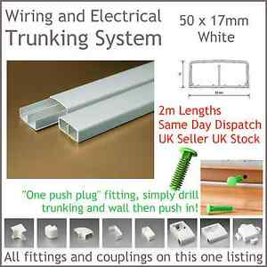 White Electrical Trunking System Cable Ducting Wiring Conduit 50 X 17mm 2m Long Ebay