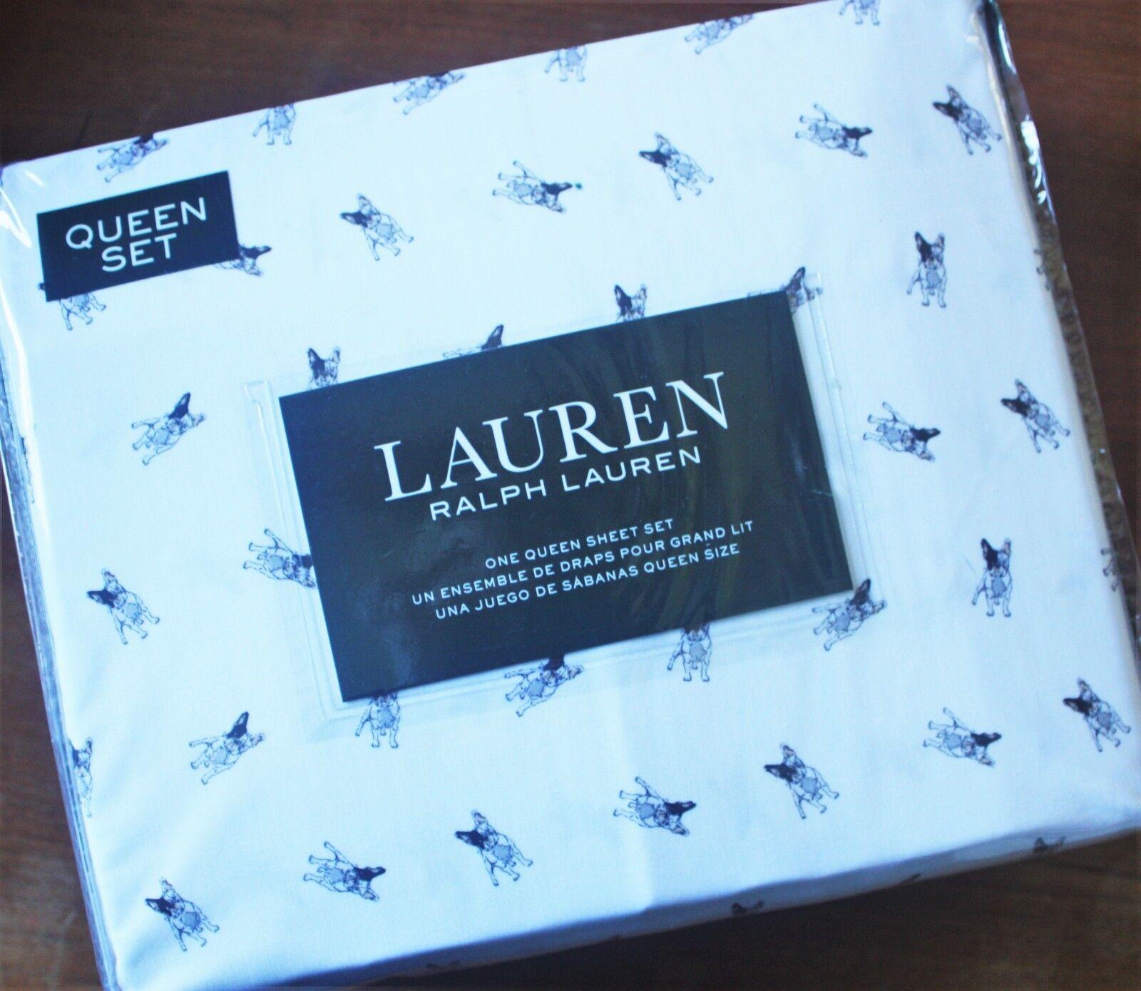 Ralph Lauren  QUEEN 4Pc Sheet Set  FAB French Bulldog Boston Terrier Puppy Dog