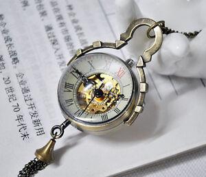 Antique-ball-mechanical-bronze-transparent-glass-punk-pocket-watch-necklace