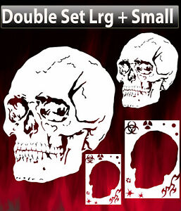 Airbrush Punisher Skull Background Double Set Stencil Template Spray Vision