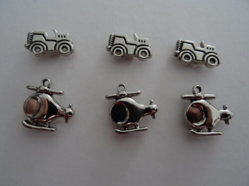 Embellishments-6 pcs 3 Helicopters /&3 Trucks for adorning cards and crafts
