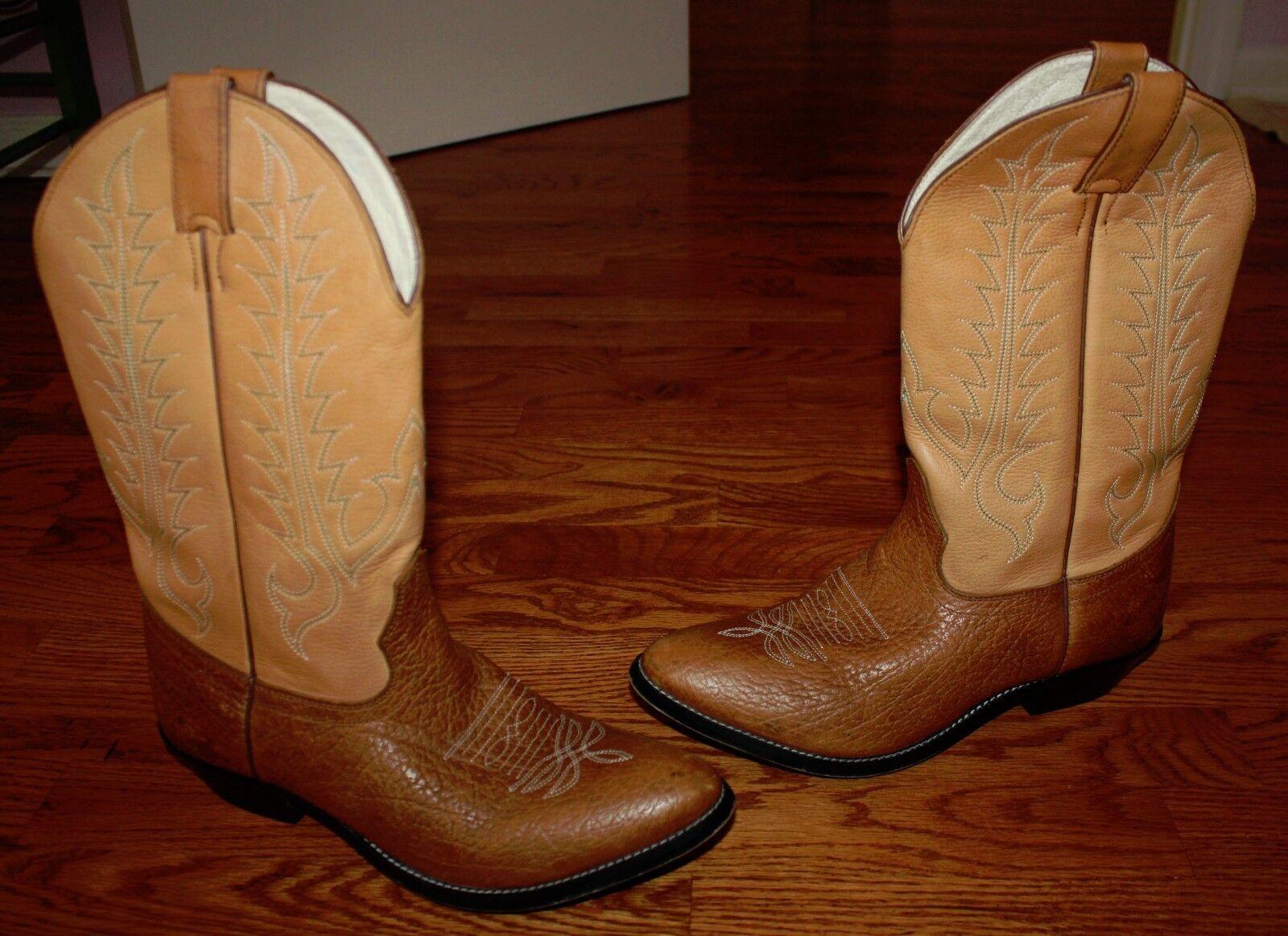 Mens Tony Lama Brown Leather Cowboy Boots Size 6 D