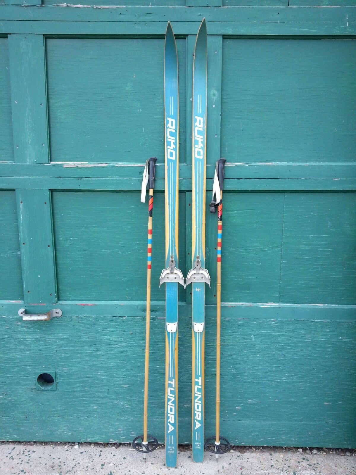 A Very Interesting Vintage Wooden  71  Long Skis blueE Finish Signed RUKO  ultra-low prices