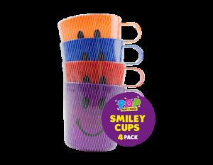 4 x Enfants Enfants en Plastique Smiley Tasses Cups avec poignée Fun Travel Home