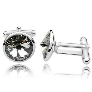 Extranjero Seguid así Comprimir  Black Diamond Crystal Cufflinks Cuff Links Dad use Genuine Swarovski  Elements UK | eBay