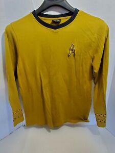 Star Trek Mens Medium Gold Captains Shirt Long Sleeve Pull Over Pre-Owned