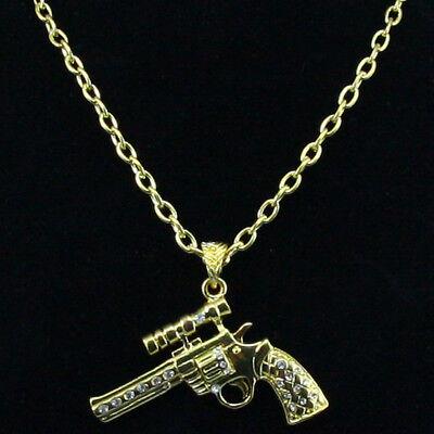 Neue Mode Fashion Jewelry Halskette Mit Pistolenanhänger Goldfarben Pistole Mit Kleine Reinweiß Und LichtdurchläSsig