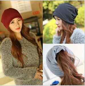Fashion Unisex Beanie Men Women Solid Color Knit Hat Cotton Slouchy ... ff543bdcd47