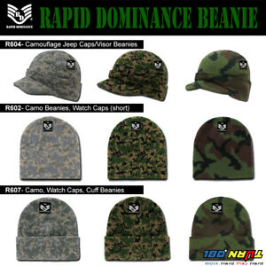 943b50a058e Rapid Camo Visor Long Short Beanie Cap Hat Knit Ski Hunting Army ...