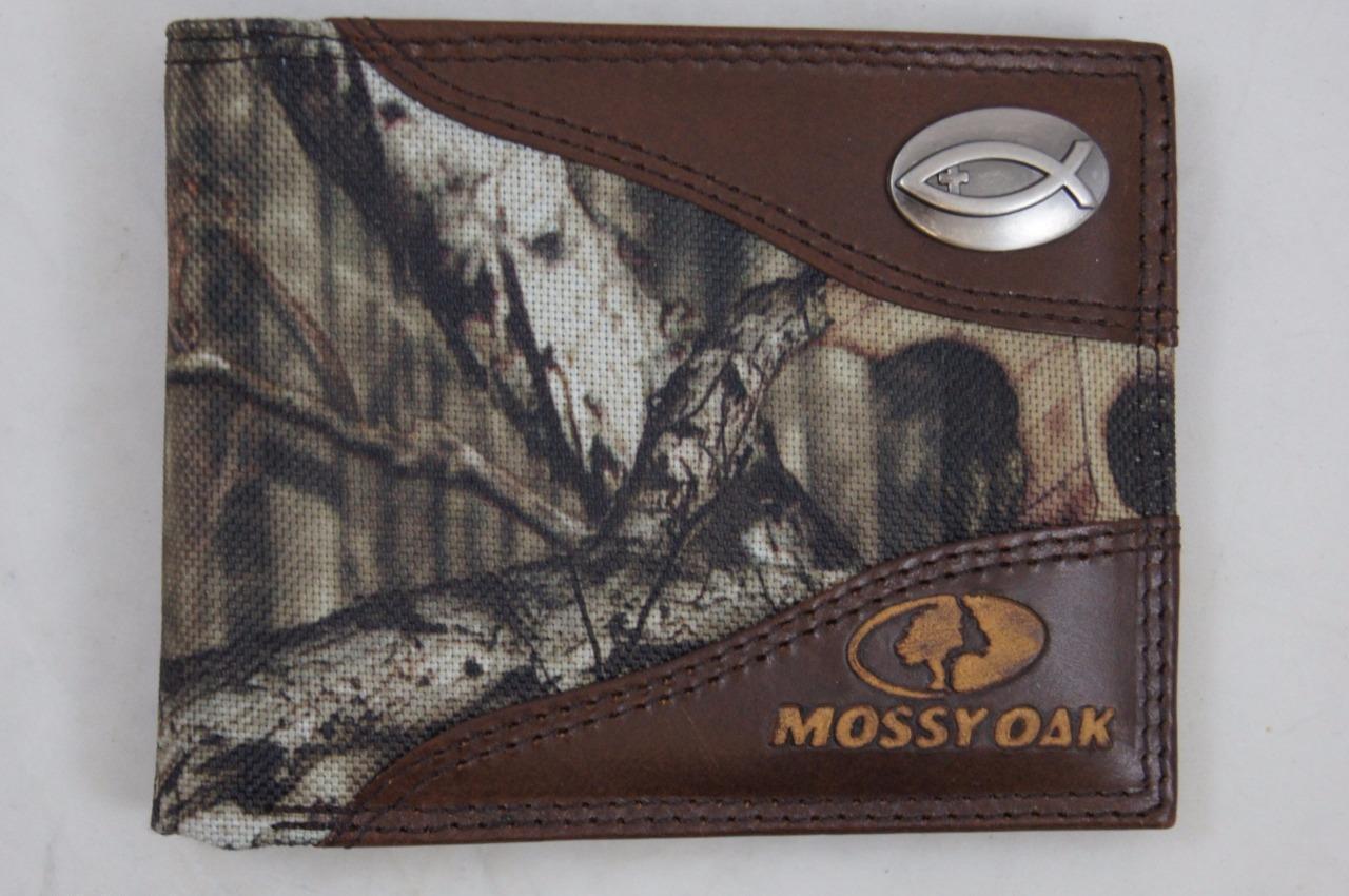 ZEP PRO Ichthys Christian Fish Mossy Oak Camo Bifold Wallet Tin Gift Box