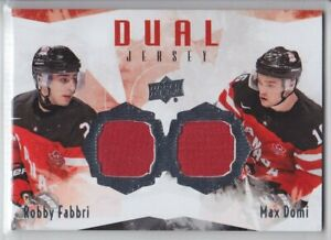 2015-16-UD-CANADA-JUNIORS-ROBBY-FABBRI-MAX-DOMI-DUAL-JERSEY-GAME-USED-Upper-Deck