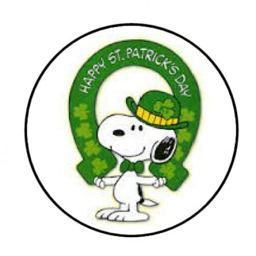 """48 SNOOPY PATRICKS DAY ENVELOPE SEALS LABELS STICKERS 1.2/"""" ROUND"""