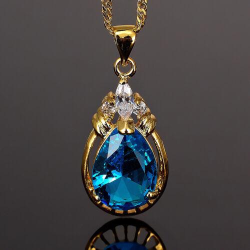 Noël Lady Fashion Jewelry 1 Pear Cut Aquamarine Topaz Gold Tone Collier Pendentif