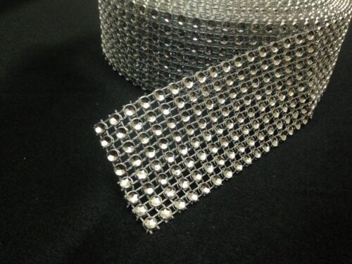 9 METRE WEDDING CAKE BLING TRIM DIAMONTE SPARKLY RIBBON  Silver 8 ROWS//40MM