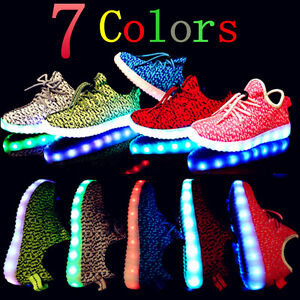 Details About New Boys Girls Usb Luminous Led Light Up Shoes Kids Breathable Sneakers Shoes