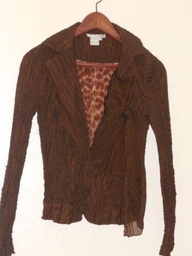 Crinkle Bow Brown Polyester Ny Jacket Makali small Sz Alberto 7xwxqYCIX