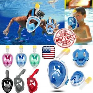 Adult Kids Swimming Full Face Snorkel Mask Surface DivingTool Scuba Pipe Gopro