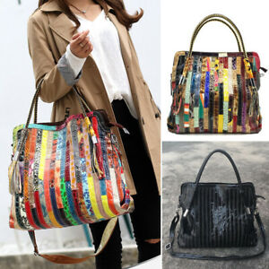 Multicolor-Patch-Real-Leather-Shoulder-Bag-Tote-Handbag-Purse-Crossbody-2-Handle