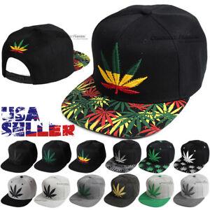 5c0707a932a Baseball Cap Snapback Hip Hop Hat Weed Leaf Pot Cannabis Marijuana ...