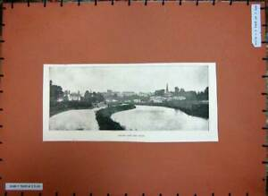 Original-Old-Antique-Print-C1880-View-Town-Exeter-Canal-Church-Houses-River