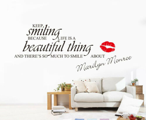 Keep Smiling Marilyn Monroe Art Words Wall Sticker Home Decor Decal UK 196