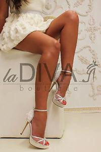 sandaletten Menbur Leder Chiffon Riemchen Ivory 37 Blumen Silber Lurex Netz qwpCA