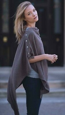 CASHMERE Button PONCHO TAUPE Wrap One Size Fits All Buttoned PONCHO,Buton