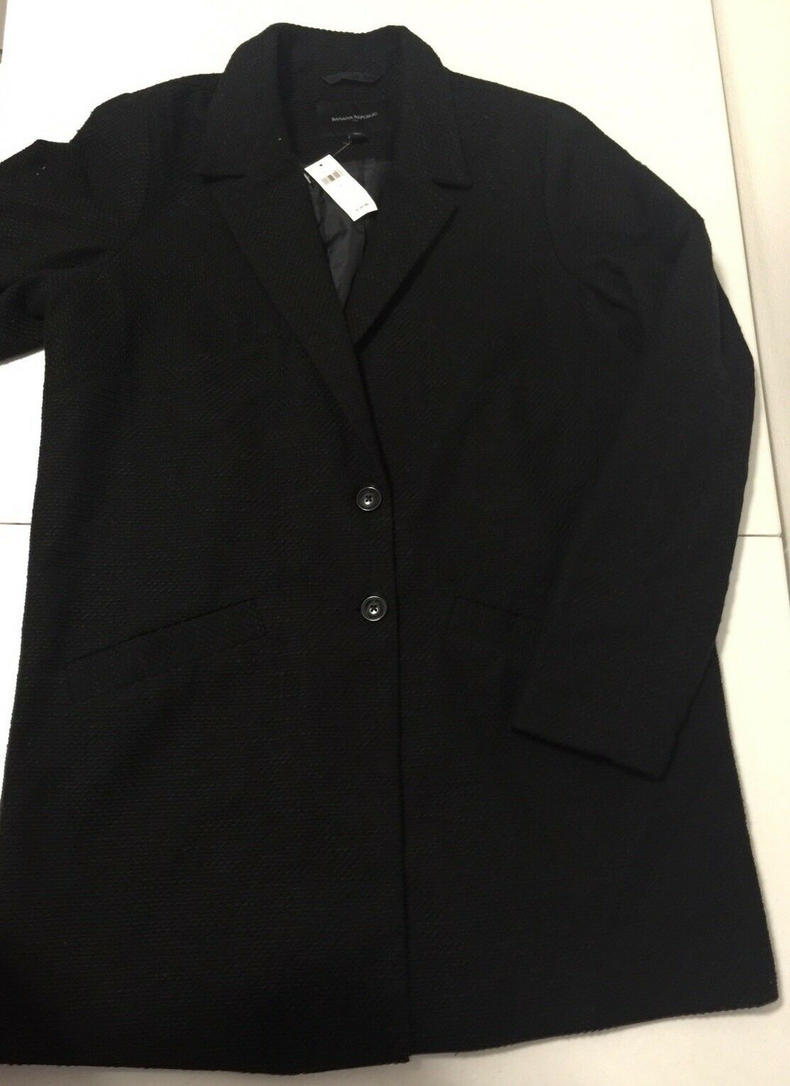 NWT Banana Republic Woherren schwarz Boucle Two Button Lined Jacket Größe L