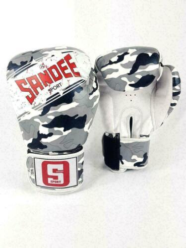 Sandee Boxing Gloves Muay Thai Sport Camo Grey Black White