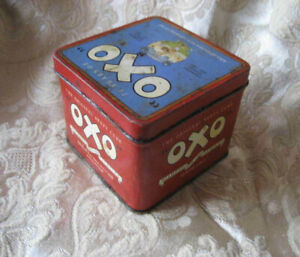 Vintage Red OXO Stock Cubes Commemorative Tin Diamond Jubilee 75 Years 1985