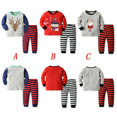 US Kids Baby Girls Christmas Cotton Outfits Long Sleeve Tops+Long Pants Clothes