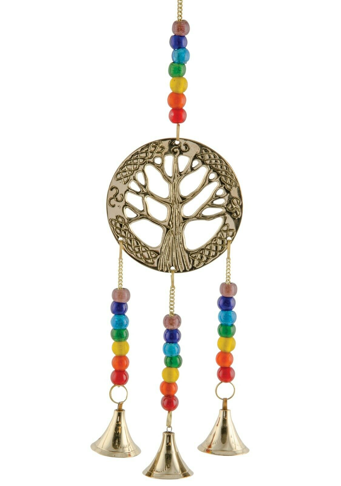 **Beautiful** Indian Brass Tree of Life Bell Chime with Rainbow Chakra Beads
