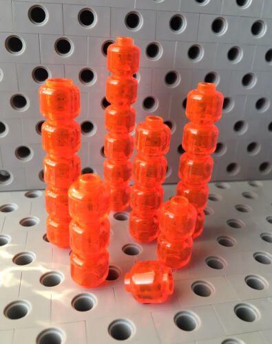 Lego Head Fluorescent Reddish Orange Trans Plain Figure Body Parts Lot Of 6