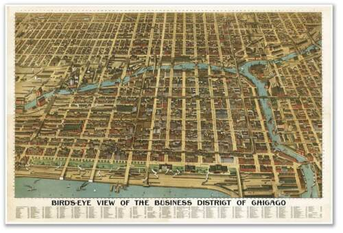 Bird/'s Eye View MAP of the City Business District of CHICAGO Illinois circa 1898