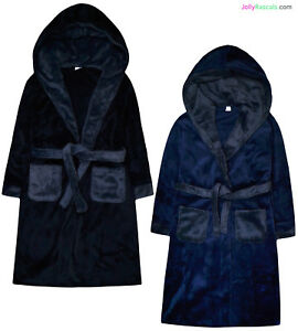 Boys-Dressing-Gown-New-Kids-Fleece-Hooded-Bath-Robe-Black-Navy-Ages-7-13-Years
