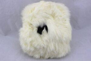 Vintage-Off-White-Ivory-Rabbit-Fur-Hand-Warmer-Muff-Strap-Wristlet