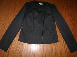 NEW Womens CATHERINE MALANDRINO CHARCOAL GRAY BLAZER ZIPPER JACKET S  $180