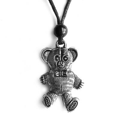 Ted Bear Pendant Kids Necklace Antique Silver with Black Cord