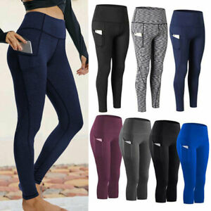 Womens High Waist Yoga Pants Leggings Fitness Sport Workout Athletic With Pocket