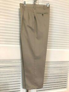 Austin-Clothing-Co-Size-36x30-CHINO-Trousers-Khaki-Tan-Cotton-Pleats-NO-Cuff