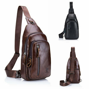 Genuine Leather Sling Chest Bag Travel