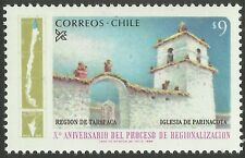 CHILE, 10th. Anniv. REGIONS, TARAPACA REGION, PARINACOTA CHURCH, MINT HINGED