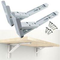 2pcs White Spring Design Wall Mounted Folding Triangle Shelf Brackets +8 Screws