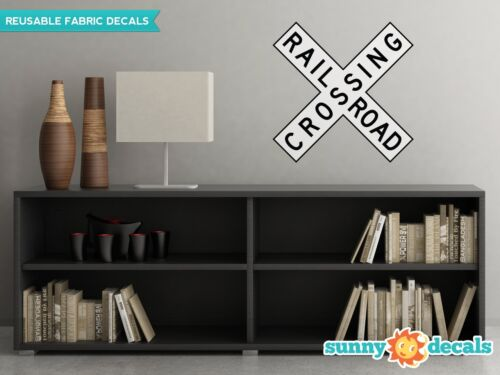 Traffic and Street Signs 3 Sizes A Rail Road Crossing Sign Fabric Wall Decal