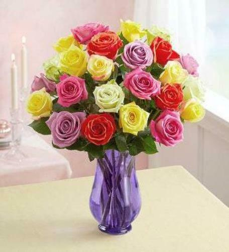 Two Dozen Assorted  Roses with Purple Vase