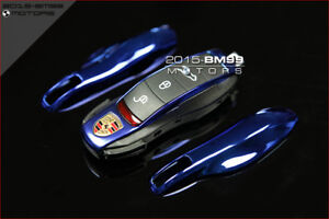 CHROME BLUE FOB REMOTE KEY CASE REPLACEMENT FOR PORSCHE BOXSTER CAYMAN MACAN 981