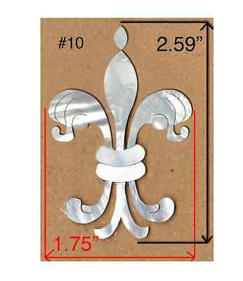 PH121# Fleur-De-Lis Inlay in White Mop /& Black Mother of Pearl 1.5mm thickness