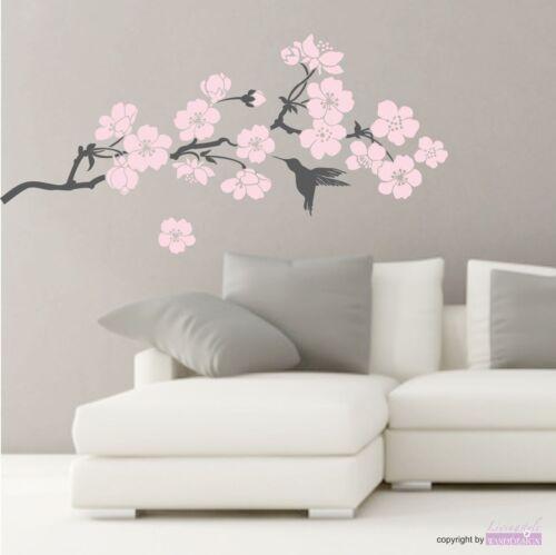 WANDTATTOO Kirschblütenzweig Blüten Zweig Vogel Japan Wandaufkleber Sticker